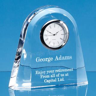 12cm Lead Crystal Dome Clock