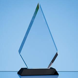 20.5cm Optical Crystal Facet Diamond Award on an Onyx Black Base