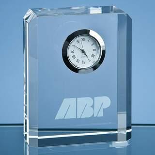 8cm Optical Crystal Bevel Edge Rectangle Clock