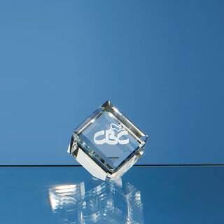 4cm Optical Crystal Bevel Edged Cube