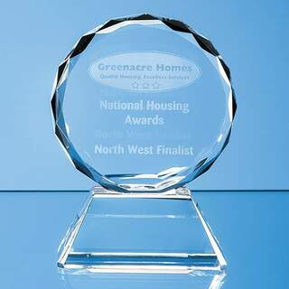 9cm Optical Crystal Mounted Facet Circle Award