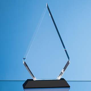 18cm Optical Crystal Facet Diamond Award on an Onyx Back Base