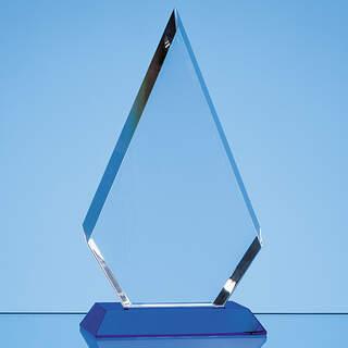 20.5cm Optical Crystal Facet Diamond Award on a Sapphire Blue Base